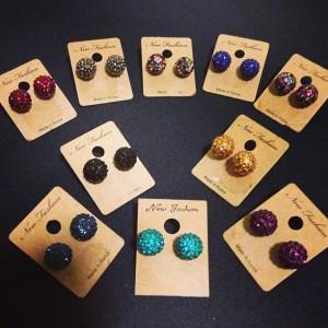 color ball earrings