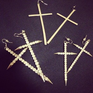 silver cross earrings